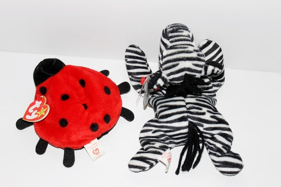 Beanie Babies Ziggy Zebra And Lucky Ladybug Both 1995 Complete