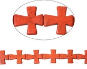 1 Strand (11 pcs) -  LARGE Red Turquoise Cross Dyed Beads/Pendants - 37 x 31mm