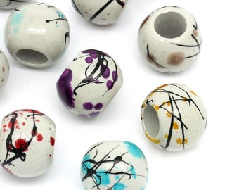 50 pcs Acrylic Drawbench Round Marble Striped Spacer Beads, 16mm - Assortment of Colors - Large Hole: 7.7mm