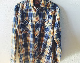 Vintage, 1970, Disco Jeans, Western Wear, Blue, Yellow and White, Plaid Shirt