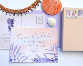 Lost in Paradise .  Wedding Save the Date. Tropical Destination wedding.Sample.