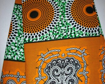 Real Supreme Wax Holland African fabric by the yard/ Orange Circle wax print/ Holland wax prints/ Supreme Holland fabrics
