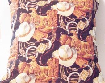 Cowboy Pillow, Cowboy Fabric, Cowboy Decor, Western Decor, Western Style Pillow