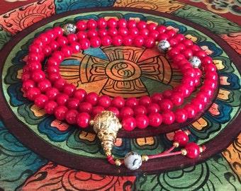 Handmade Tibetan 108 Bead Coral Mala with Dalmatian Jasper Spacers for Meditation