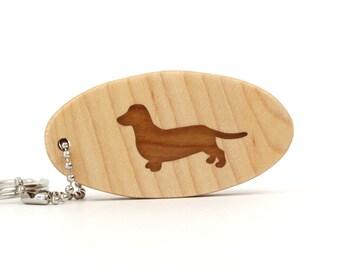 Dachshund Key Chain Wood Scroll Saw Pet Key Ring Wooden Dog Breed Key Chain Dachshund Dog Key Fob Cherry