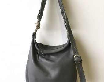 Slouchy Sanko Bag- Ready to Ship- Grey Leather Bag- Grey Crossbody Bag- Heart Work Collection-