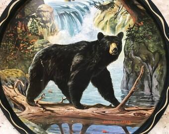 Vintage Bear Metal Tray James Artic Mid-century Kitsch Cabin Decor