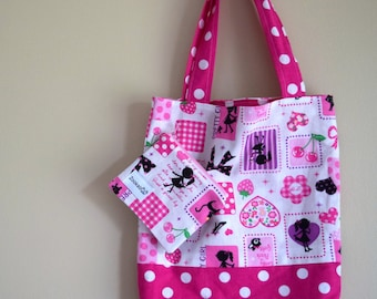 Library Tote Bag, Preschool Bag, Child's Birthday Gift, Handmade, Zookaboo, Ready to Ship