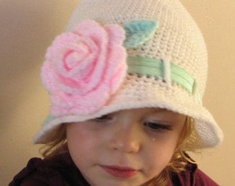 Crochet pattern for Rose Cloche hat in 4 sizes - INSTANT DOWNLOAD .pdf
