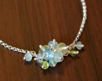 Gemstone Anklet, Sterling Silver, Aqua Chalcedony, Blue Topaz, Prehnite, Peridot, Cluster, Dainty Spring Jewelry, Free Shipping