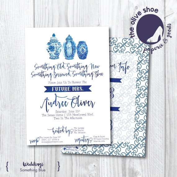 Something Blue Bridal Shower Invitation | Chinoiserie | China | Navy | Monogram | Printable or Printed | Ginger Jar | Classic | Watercolor