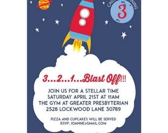 Space Ship Printable Birthday Invitation   Rocket Birthday   Outer Space Party   Printable Party   Out of this World   Solar System Party