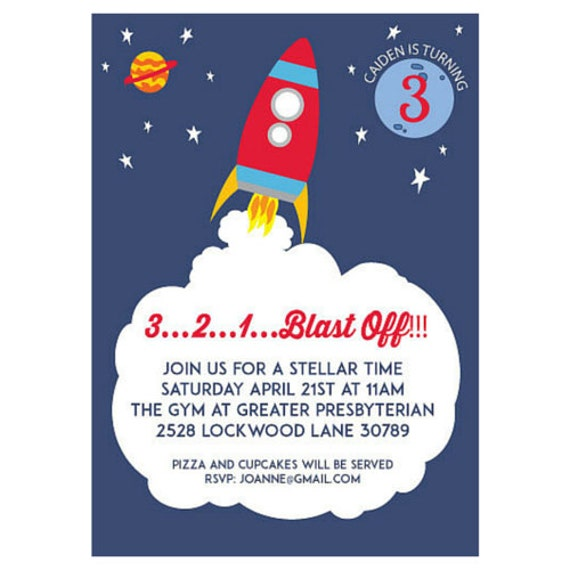 Space Ship Printable Birthday Invitation | Rocket Birthday | Outer Space Party | Printable Party | Out of this World | Solar System Party