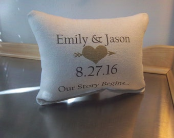 Wedding date pillow 2nd anniversary gift cotton personalized pillow custom throw pillow couples gift love cushion minimalist wedding pillows