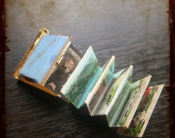 Antique Liechtenstein miniature photo album Book Locket Pendant - Vintage Jewelry Souvenir from Europe