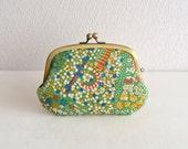 Liberty green floral 3 pockets frame purse /coin wallet