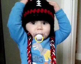 Team Football Hat PHOTO Prop - ANY Team Colors - Newborn - Toddler - Child Girl Boy - Reborn Doll - Made to Order