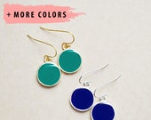 Silver and Gold Round Bezel Drop Earrings - Any Color