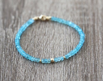 Cool Apatite and Gold Ball Bracelet  / Sterling Silver / 14K Gold Filled / Rose Gold / Layering Stackable Gemstone Bracelet