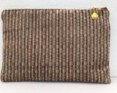 Brown Velvet Stripe Makeup Zipper Pouch with Shell Charm, Cosmetic Bag, Pencil Bag, Gadget Bag with Heart Warming Quote Inside