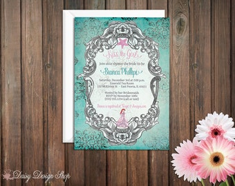 Bridal Shower Invitation -  Princess Ariel - Little Mermaid Damask and Frame