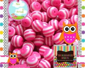 PINK AND WHITE Striped 8mm Resin Acrylic Chunky Beads Wholesale Beads Bubblegum Bead Chunky Necklace Small Bubblegum Beads Striped Bead