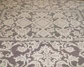 Vintage Filet Lace Tablecloth.  Ecru Cotton Lace Tablecloth.  Handmade Filet Crochet Tablecloth 58 x 74