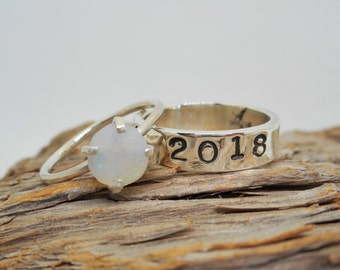 Raw Gemstone School Ring Set Sterling Silver Stacking Bands 12+ Rough Natural Gemstone Choices Go Greek and Add Your Sorority Class Ring Set