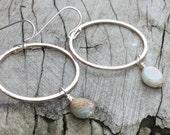 Tiny River Jasper Bead Earrings, Hammered Silver Hoop earring, Small stone earrings, light blue jasper, single stone drop