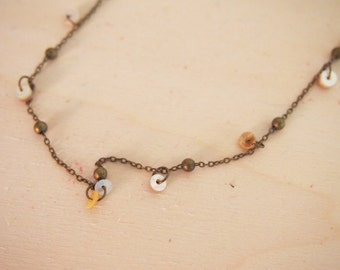 Nacre necklace with little leather circles, handmade necklace boho style