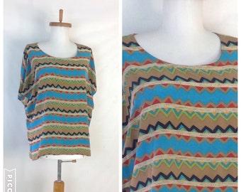 Silk Tee Print Boxy Silk Blouse  Silk Shirt  Silk T Shirt Aztec Print Clothing  Silk Print  Blouse Slouchy Blouse 43 inch bust