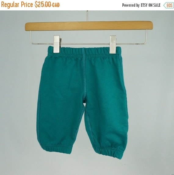 ON SALE Organic cotton fleece baby pants, warm baggy pants for babies, good for cloth diapers, teal