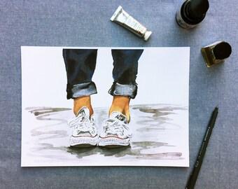 Converse sneakers watercolour print