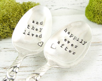 And They Lived Happily Ever After. Stamped Vintage Teaspoons. Love Spoons. Hearts. Wedding or Engagement Gift. Date on Handles. 324WED