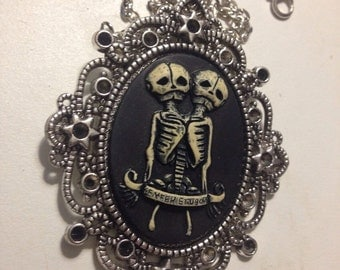 Skeleton twins cameo necklace siamese twins pendant
