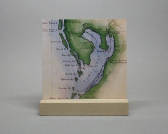 Tampa Bay Florida Nautical Map Print on Metal for Desk or Shelf Hometown City Gift for Men or Women