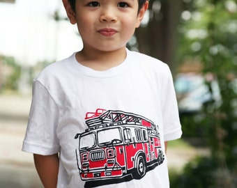 Ready To Ship!!!! Fire Truck on White American Apparel T Shirt