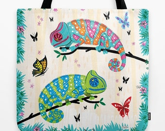 "Seeing Spots - Childrens Tote Bag - Book Bag -  Record bag - Chameleons and Butterflies - animal /nature / wildlife - art bag - 18"" x 18"""