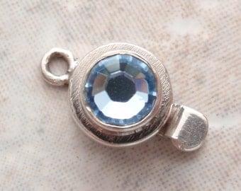 Sterling Box Clasp Blue Rhinestone Round Single Strand Qty. 1