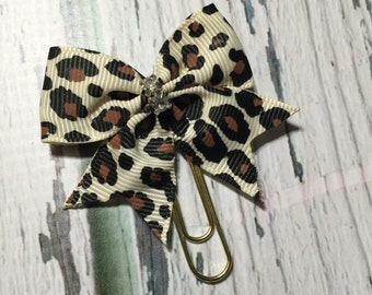 Leopard print bow planner clip