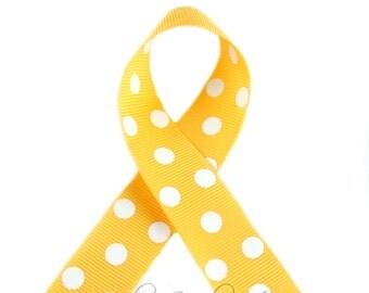 Yellow Gold Polka Dots 1-1/2 inch Polka Dot Grosgrain Ribbon - Polka Dot Ribbon, Polka Dot Hair Bow, Polka Dot Bow, Ribbon By The Yard