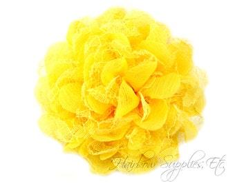 Yellow Petite Lace Chiffon Flowers 3.5 inch - Yellow Shabby Flowers, Yellow Fabric Flower, Yellow Chiffon Flower, Yellow Flowers for hair