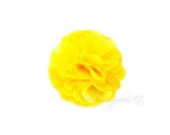 Yellow Silk Mesh Flowers Petite Puffs 2 inch - Yellow Flowers, Yellow Hair Flowers, Yellow Flowers For Hair, Yellow Silk Flowers