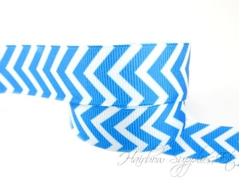 Royal Blue Chevron Ribbon 1-1/2 inch - Choose from 1-10 yards Grosgrain Ribbon - Hairbow Supplies, Etc.