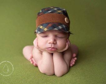 newborn BOY fabric hat with button (Bodhi) - photography prop - plaid, tealm brown, mustard, green, burnt orange, dark teal