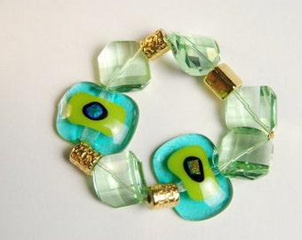 Turquoise and Spring Green Bracelet