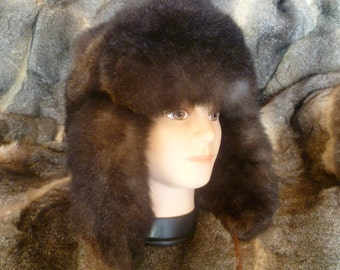 New Zealand Possum Fur Man's Bush Hat (Fur Outside) - Natural Brown