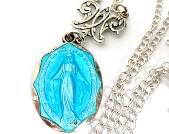 Sterling Silver Miraculous Medal Necklace, Creed Medal