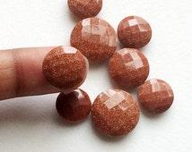 WHOLESALE 9 Pcs Sunstone Double Side Cut Stones, Round Sunstone Gems, Loose Sunstone, 12mm To 16mm