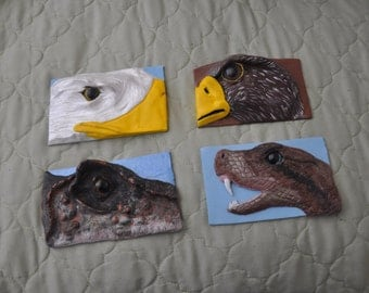 4 Animal polymer clay plates for decoration 2 eagles, 1 dinosaur and 1 snake